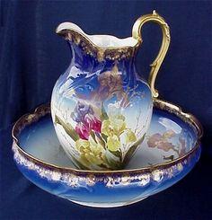 Antique Limoges hand painted cobalt porcelain wash bowl and pitcher, c. 1894-1990