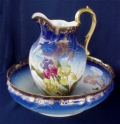 LIMOGES COBALT WASH BOWL AND PITCHER, CA. 1894-1900