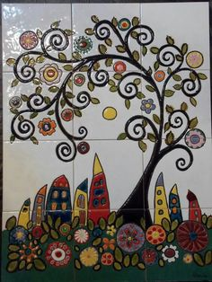 Pottery Painting, Dot Painting, Ceramic Painting, Ceramic Art, Handmade Tiles, Handmade Pottery, Sharpie Art, Art N Craft, Decorative Tile