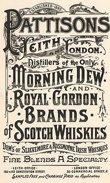 Pattisons Scotch produced by Pattison Distillers from 1896 thru 1899 when the distillery went bankrupt.