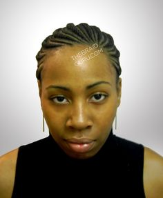 Biggie Small Feed-In Cornrows - Ponytail - Front View Braids by Thebraidguru.com