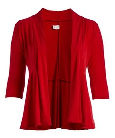 This Red Three-Quarter Sleeve Open Cardigan - Plus is perfect! #zulilyfinds