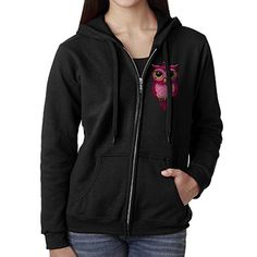 Womens Cute Pink Owl Cartoon Character Zip Hoodie Sweatshirt *** Click on the image for additional details.(This is an Amazon affiliate link and I receive a commission for the sales)