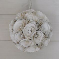 shabby chic christmas | shabby chic vintage style cream flower ball with glittered edges. 15 ...