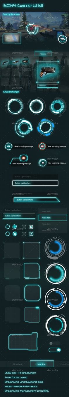 Sci-fi game UI kit This UI kit contains most of the needed screens to create your next game project. Sci-fi style makes the game matches