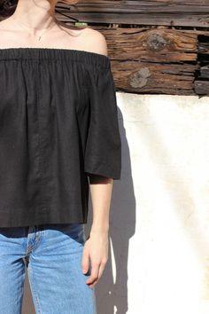 rain linen top (black)