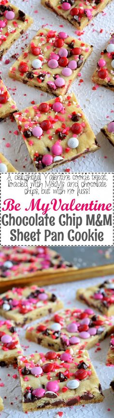 Be My Valentine Chocolate Chip M&M Sheet Pan Cookie - Lord Byron's Kitchen