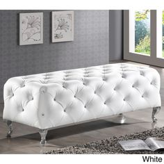 Baxton Studio Stella Crystal Tufted Modern Bench, White Stella is a glamorous designer bed-end bench that takes it up a notch with allover faux crystal button Design Furniture, Bedroom Furniture, Bench Furniture, Bedroom Sofa, White Bedroom, Modern Furniture, Master Bedroom, Pink Furniture, Bed Couch