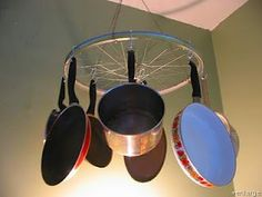 The bike rim rack won't have your head spinning looking for a pan. Perfect for the bachelor home or college apartment.