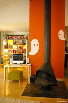 Halloween --- could do ghosts in large stickers, instead of painting the wall. Although an orange accent wall could be done... :)