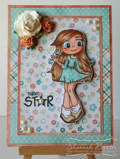 Whimsy Stamps card by Shannah Bartle using 'Pretty Petals' by Time 4 Tea Designs, and 'Girl Talk' by SC Designs Collection.