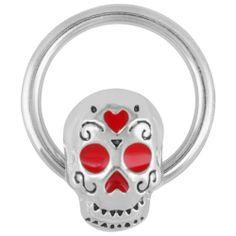 "Amazon.com: Stunning Sugar Skull Captive Bead Ring - 14G 1/2"": Jewelry"