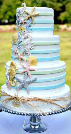 The perfect beachy wedding cake! #OBX #SunRealtyNC #OBXweddingwednesday