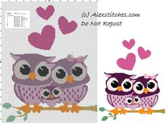 Owls family free cross stitch pattern - free cross stitch patterns by Alex