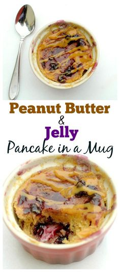 This Healthy Peanut Butter and Jelly Pancake in a Mug is made in less than 2 minutes with only a few ingredients! Now you can enjoy have pancakes on a busy morning too! Also vegan and has a gluten-free option too!