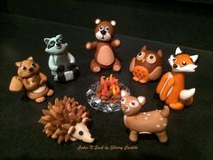 Marshmallow fondant woodland creatures cake topper set