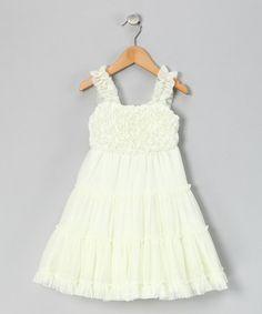 Ivory Rosette Dress - by Little Mass on zulily