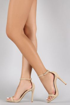 Anne Michelle Nubuck Ankle Strap Open Toe Stiletto Heel
