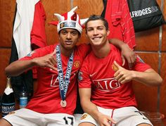 Rare Photos of Cristiano Ronaldo:     2009:   Cristiano Ronaldo and Nani celebrate in the dressing room after the Barclays Premier League match between Manchester United and Arsenal at Old Trafford in Manchester.