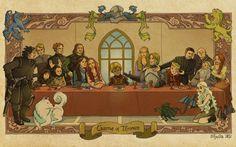 last supper The Last Supper Game of Thrones A Song of Ice and Fire Tyrion Lannister Eddard 'Ned' Stark Jon Snow Sansa Stark Arya Stark Daenerys Targaryen Ghost House Lannister House Stark Joffrey Baratheon Theon Greyjoy Cersei Lannister Catelyn  wallpaper background