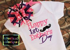 Happy 1st First Father's Day Mustache - Monogrammed Boutique White Shirt or Onesie and Hair Bow Set for Girls