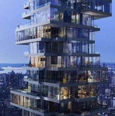 Close up of apartments at the top of the Jenga tower, New York