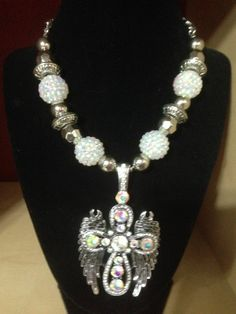 WING Necklace Western Cowgirl Rodeo Chuncky Rhinestone Cross Bead Womens Crystal #ssfashion #Chain