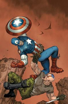 Ultimate Captain America Cover: Captain America and Frank Simpson Fighting and Falling by Marko Djurdjevic Marvel Comics Poster - 61 x 91 cm Arte Dc Comics, Marvel Comics, Marvel Art, Marvel Heroes, Bucky, Comic Books Art, Comic Art, Captain America Art, Spiderman