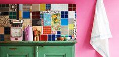 make your own mismatched tile mosaic backsplash Mosaic Backsplash, Mosaic Tiles, Wall Tiles, Craft Tutorials, Diy Projects, Patchwork Tiles, Color Tile, Decoration, Diy Crafts