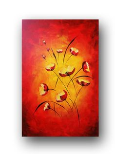 Poppies Painting Abstract Flower Painting by heatherdaypaintings, $315.00