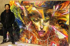 David Choe portrait with a mixed media piece - on Wide Walls artist list