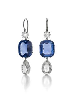 Pair of Diamond and Sapphire Ear Pendants by Siegelson, New York