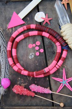 Cherry Berry Colorblock : Vintage African Vinyl Record Bead Necklace by WomanShopsWorld