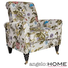 @Overstock.com - angelo:HOME Harlow Antique Floral Bird Arm Chair - The angelo:HOME Harlow accent chair was designed by Angelo Surmelis. The Harlow chair has a slightly rounded arm and is covered in a beautiful antique floral bird design fabric.  http://www.overstock.com/Home-Garden/angelo-HOME-Harlow-Antique-Floral-Bird-Arm-Chair/8530686/product.html?CID=214117 $265.99