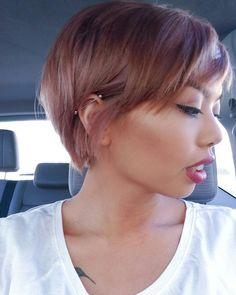 Dusty rose pixie cut. Dangerously close to cutting my hair like this again!