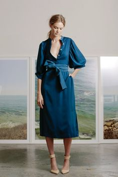 MASON DRESS - BLUE SILK