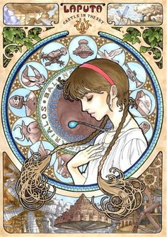 Hayao Miyazaki al estilo Art Nouveau