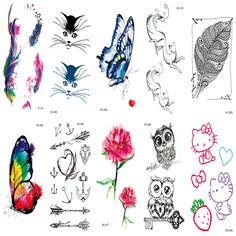 7b8bfb4372e8d 10pcs Waterproof Temporary Tattoos Sleeve Owl Fox Artificial Flowers Tattoo  Many Designs Sex Men Beauty Body