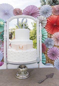 Bow & polka dot wedding cake