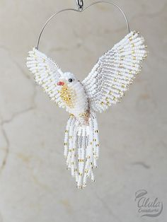 White Dove Suncatcher, Beaded Dove Ornament, Dove Necklace, Window Decor, Bird Lover Gift, Bird Figurine, 3D Beaded Bird, Judy Model, BB#126