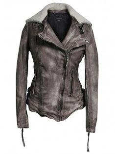 Jadene sheepskin biker jacket in grey.