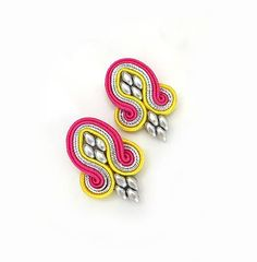 Hot pink Yellow colorful earrings soutache earrings by sutaszula