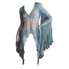 Zandra Rhodes Boho Silk Pirate Sleeve Top / Beach Coverup   From a collection of rare vintage blouses at http://www.1stdibs.com/fashion/clothing/blouses/