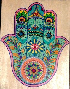 Hamsa in colour Hand Der Fatima, Hamsa Art, Hamsa Design, Hamsa Tattoo, Hippie Art, Hippie Bohemian, Jewish Art, Mandala Art, Art Projects