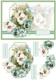 Aqa and white pansy card with decoupage on Craftsuprint designed by Angela Wake - Aqa and white pansy card with decoupage and sentiment tags, a card for lots of occasions - Now available for download!