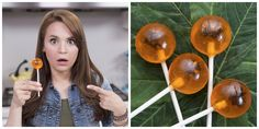 """Dinosaur DNA extracted from a mosquito trapped in amber is what started the whole Jurassic Park series, so it's also fitting it also inspired these Amber Fossil Lollipops. Nerdy Nummies' Rosanna Pansino cuts black licorice using scissors to create the """"bugs"""" in each pop. Get the recipe.    - Delish.com"""