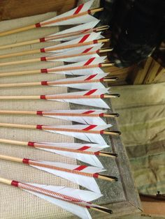 Horn wedge, spliced and bound medieval style English longbow arrows