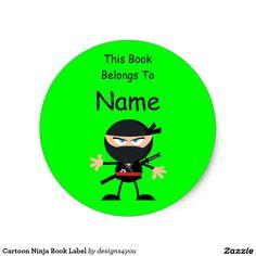 Cartoon Ninja Book Label Neon Lime Green Classic Round Sticker