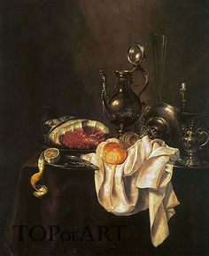 Title: Still Life of Ham and Silver Plate, 1649 Artist: Willem Claesz Heda Medium: Hand-Painted Art Reproduction