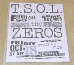 TSOL The Zeros concert poster handbill